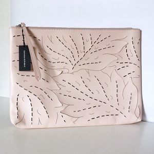 Banana Republic Hide Cow Leather Zip Leaf Clutch